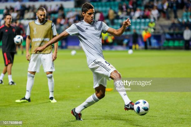Raphael Varane of Real Madrid during the warmup ahead of the UEFA Super Cup match between Real Madrid and Atletico Madrid on August 15 2018 at...