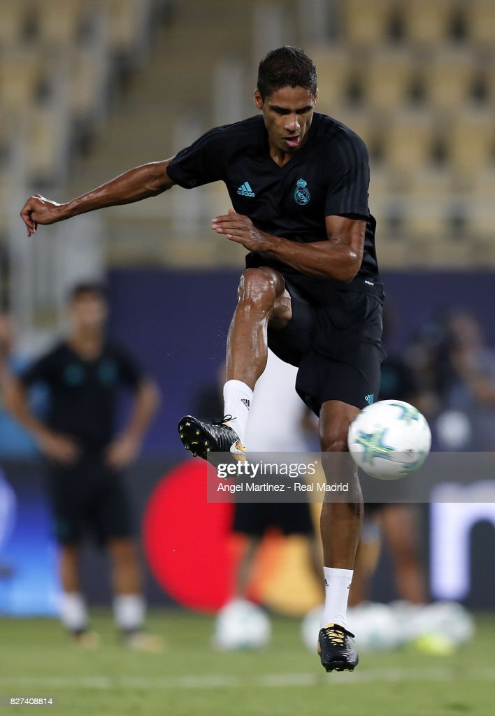 Raphael Varane of Real Madrid in action during a training session at Philip II Arena on August 7, 2017 in Skopje, Macedonia.