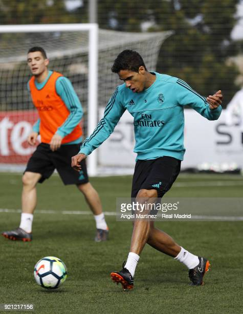 Raphael Varane of Real Madrid in action during a training session at Valdebebas training ground on February 20 2018 in Madrid Spain