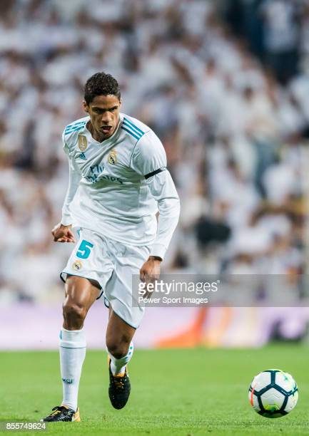 Raphael Varane of Real Madrid in action during the La Liga 201718 match between Real Madrid and Real Betis at Estadio Santiago Bernabeu on 20...