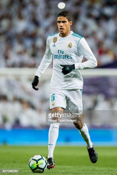 Raphael Varane of Real Madrid in action during the La Liga 201718 match between Real Madrid and Girona FC at Estadio Santiago Bernabéu on March 18...