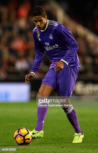 Raphael Varane of Real Madrid in action during the La Liga match between Valencia CF and Real Madrid at Mestalla Stadium on February 22 2017 in...