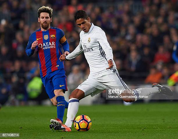 Raphael Varane of Real Madrid in action during the La Liga match between FC Barcelona and Real Madrid CF at Camp Nou stadium on December 03 2016 in...