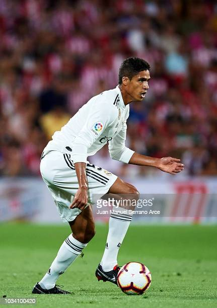 Raphael Varane of Real Madrid in action during the La Liga match between Athletic Club Bilbao and Real Madrid at San Mames Stadium on September 15...