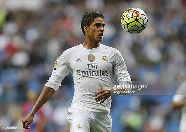 Raphael Varane of Real Madrid in action during the La Liga match between Real Madrid CF and Levante UD at Estadio Santiago Bernabeu on October 17...