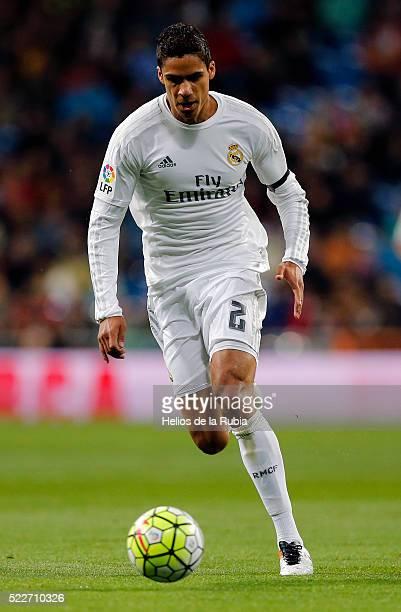 Raphael Varane of Real Madrid in action during the La Liga match between Real Madrid CF and Villarreal CF at Estadio Santiago Bernabeu on April 20...