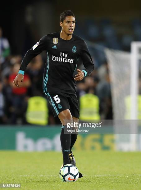 Raphael Varane of Real Madrid in action during the La Liga match between Real Sociedad and Real Madrid CF at Anoeta Stadium on September 17 2017 in...