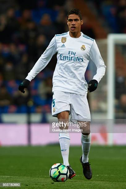 Raphael Varane of Real Madrid in action during the La Liga match between Real Madrid and Girona at Estadio Santiago Bernabeu on March 18 2018 in...