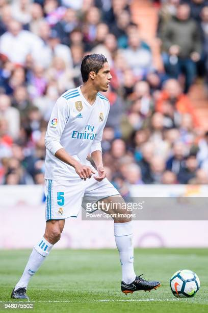 Raphael Varane of Real Madrid in action during the La Liga match between Real Madrid and Atletico Madrid at Estadio Santiago Bernabeu on April 8 2018...