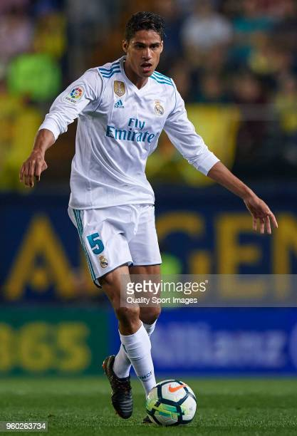 Raphael Varane of Real Madrid in action during the La Liga match between Villarreal and Real Madrid at Estadio de la Ceramica on May 19 2018 in...