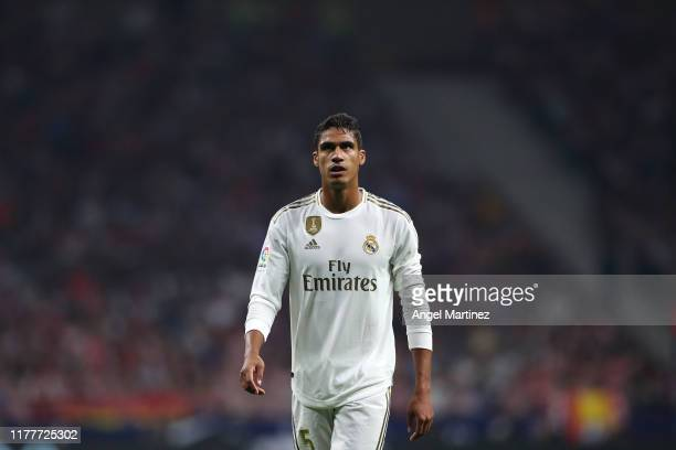Raphael Varane of Real Madrid in action during the Liga match between Club Atletico de Madrid and Real Madrid CF at Wanda Metropolitano on September...