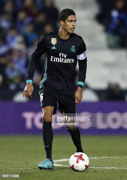Raphael Varane of Real Madrid in action during the Spanish Copa del Rey Quarter Final First Leg match between Leganes and Real Madrid at Estadio...