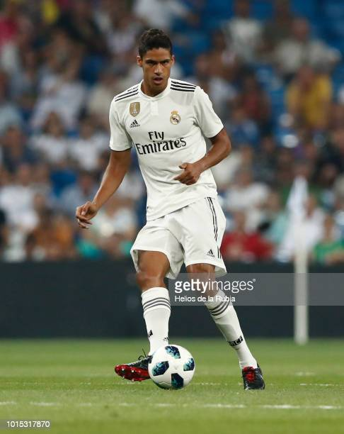 Raphael Varane of Real Madrid in action during the Trofeo Santiago Bernabeu match between Real Madrid and AC Milan at Estadio Santiago Bernabeu on...