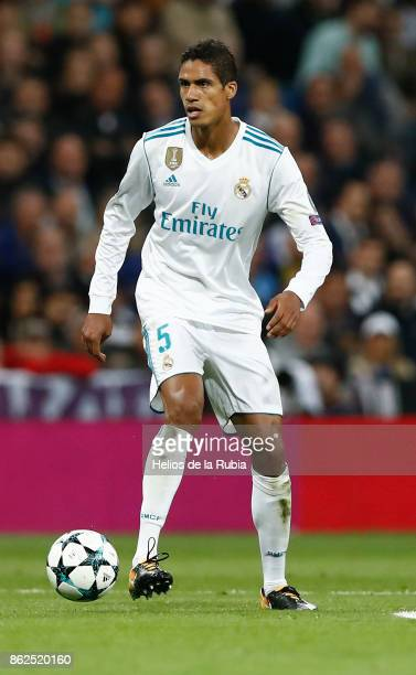 Raphael Varane of Real Madrid in action during the UEFA Champions League group H match between Real Madrid CF and Tottenham Hotspur at Estadio...