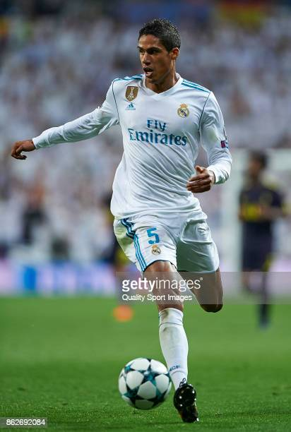Raphael Varane of Real Madrid in action during the UEFA Champions League group H match between Real Madrid and Tottenham Hotspur at Estadio Santiago...