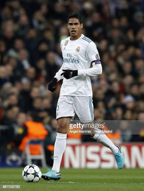 Raphael Varane of Real Madrid in action during the UEFA Champions League group H match between Real Madrid CF and Borussia Dortmund at Estadio...