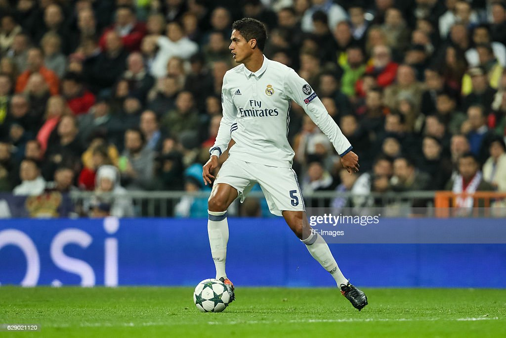 Raphael Varane of Real Madrid in action during the UEFA Champions League match between Real Madrid CF and Borussia Dortmund at Bernabeu on December 7, 2016 in Madrid.