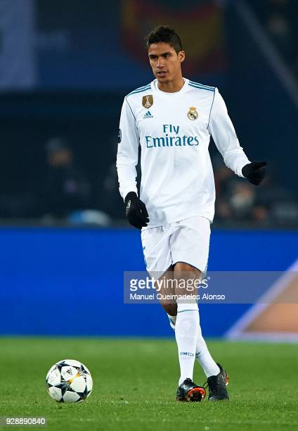 Raphael Varane of Real Madrid in action during the UEFA Champions League Round of 16 Second Leg match between Paris SaintGermain and Real Madrid at...