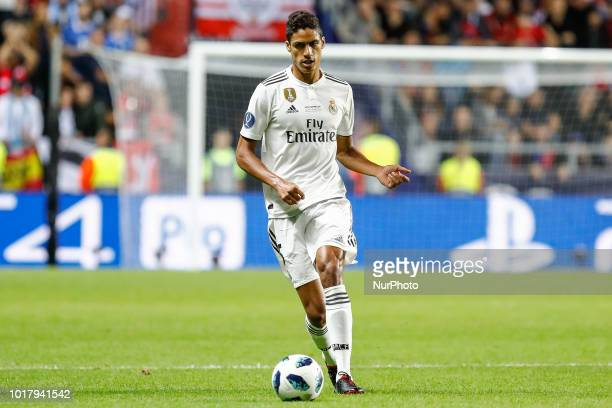 Raphael Varane of Real Madrid in action during the UEFA Super Cup match between Real Madrid and Atletico Madrid on August 15 2018 at Lillekula...