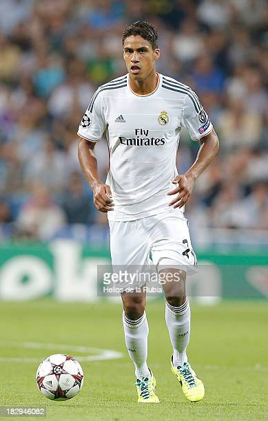 Raphael Varane of Real Madrid in actions during the UEFA Champions League group B match between Real Madrid and FC Copenhagen at Estadio Santiago...