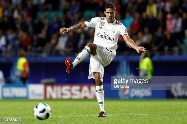 Raphael Varane of Real Madrid kicks the ball during the UEFA Super Cup match between Real Madrid and Atletico Madrid at Lillekula Stadium on August...