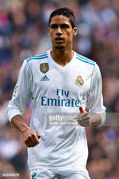 Raphael Varane of Real Madrid looks on during the La Liga match between Real Madrid and Atletico Madrid at Estadio Santiago Bernabeu on April 8 2018...