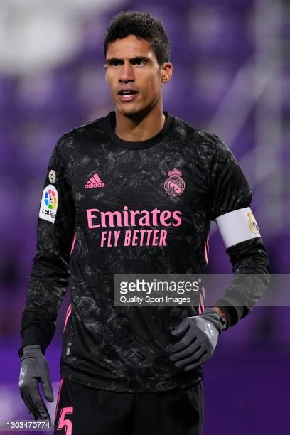 Raphael Varane of Real Madrid looks on during the La Liga Santander match between Real Valladolid CF and Real Madrid at Estadio Municipal Jose...