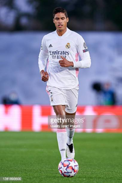 Raphael Varane of Real Madrid looks on during the UEFA Champions League Group B stage match between Real Madrid and Shakhtar Donetsk at Estadio...