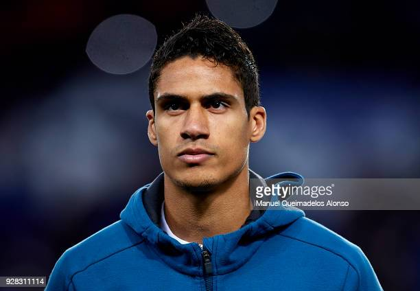 Raphael Varane of Real Madrid looks on prior to the UEFA Champions League Round of 16 Second Leg match between Paris SaintGermain and Real Madrid at...
