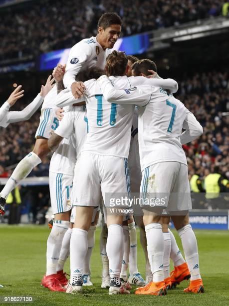 Raphael Varane of Real Madrid Lucas Vazquez of Real Madrid Marcelo of Real Madrid Gareth Bale of Real Madrid Sergio Ramos of Real Madrid Marco...