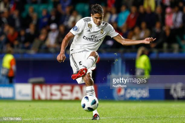 Raphael Varane of Real Madrid passes the ball during the UEFA Super Cup match between Real Madrid and Atletico Madrid on August 15 2018 at Lillekula...