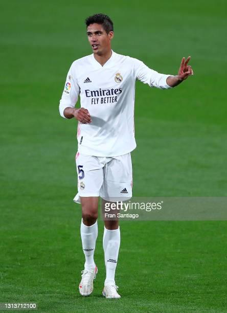 Raphael Varane of Real Madrid reacts during the La Liga Santander match between Cadiz CF and Real Madrid at Estadio Ramon de Carranza on April 21,...