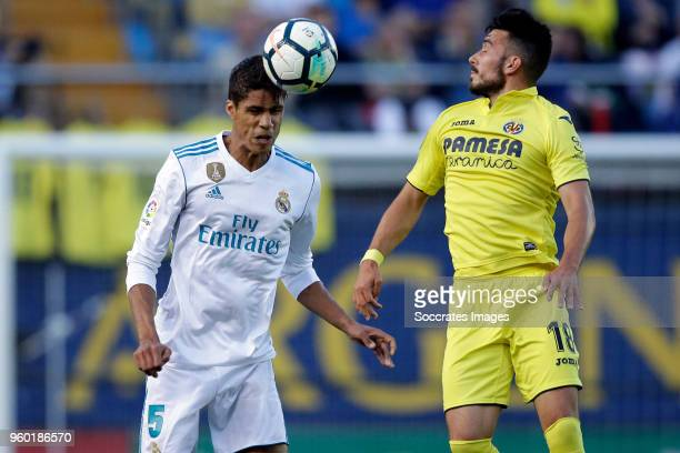 Raphael Varane of Real Madrid Sansone of Villarreal during the La Liga Santander match between Villarreal v Real Madrid at the Estadio de la Ceramica...