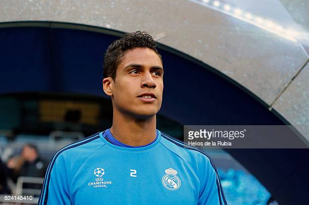 Raphael Varane of Real Madrid warm up during a training session ahead of the UEFA Champions League Semi Final match between Manchester City FC and...