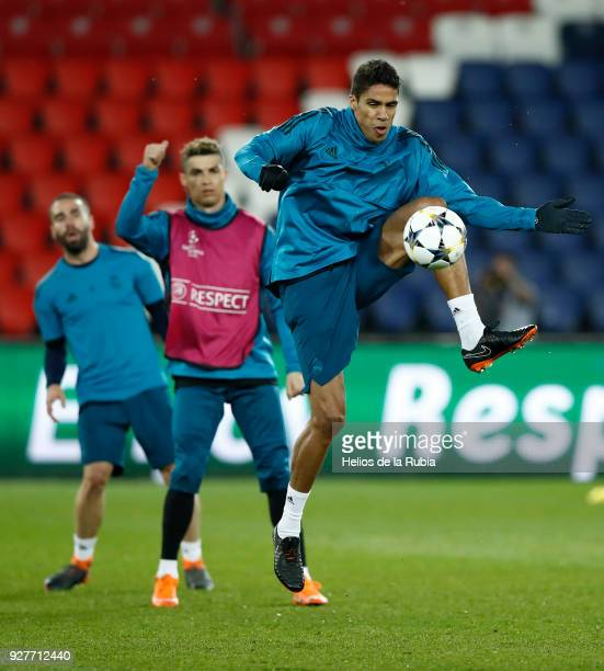 MARCH 5 Raphael Varane of Real Madrid warms up during a trainning session at Parc des Princes on March 5 2018 in Paris France