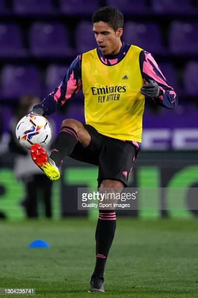 Raphael Varane of Real Madrid warms up prior the game during the La Liga Santander match between Real Valladolid CF and Real Madrid at Estadio...