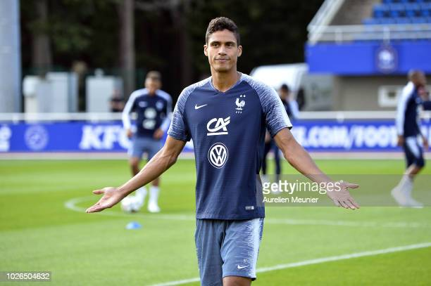 Raphael Varane reacts during a French Soccer team training session on September 3 2018 in EtivalClairefontaine France