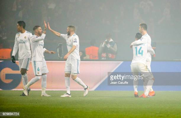 Raphael Varane Sergio Ramos Karim Benzema of Real Madrid celebrate the goal of Cristiano Ronaldo left with Carlos Casemiro during the UEFA Champions...