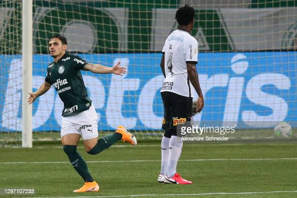 Raphael Veiga of Palmeiras celebrates after scoring the first goal of his team during the match against Corinthians as part of Brasileirao Series A...