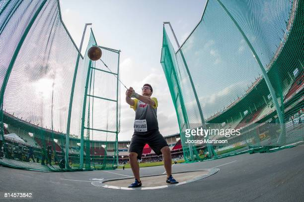 Raphael Vinkelvoss of Germany competes in the boys hammer throw final during day 3 of the IAAF U18 World Championships at Moi International Sports...
