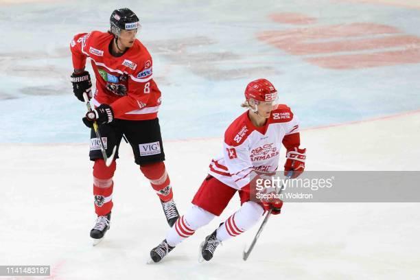 Raphael Wolf of Austria and Joachim Blichfeld of Denmark during the Austria v Denmark - Ice Hockey International Friendly at Erste Bank Arena on May...