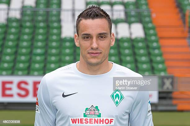 Raphael Wolf poses during the official team presentation of Werder Bremen at Weserstadion on July 10 2015 in Bremen Germany
