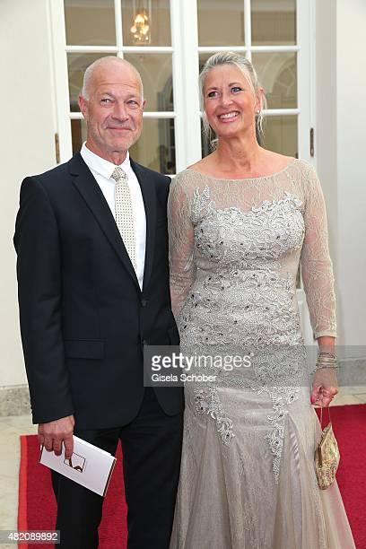 Raphaela Ackermann sister of Thomas Gottschalk and her partner during the 'Die Goldene Deutschland' Gala on July 26 2015 at Cuvillies Theater in...