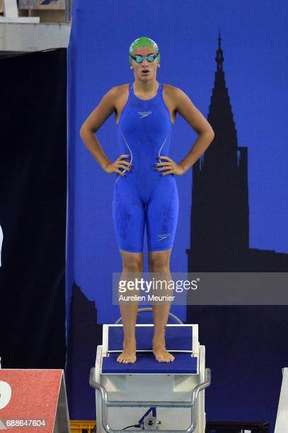Raphaelle Anglade prepares to compete in the 100m Women's Individual Butterfly on day four of the French National Swimming Championships on May 26...