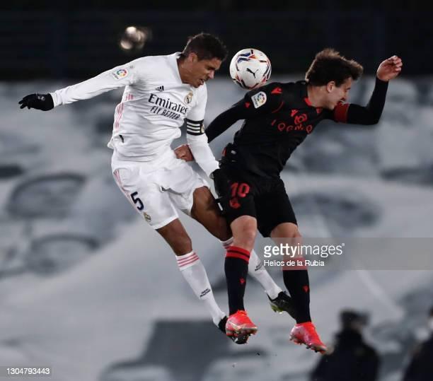 Raphaël Varane during the La Liga Santander match between Real Madrid and Real Sociedad at Estadio Santiago Bernabeu on March 01, 2021 in Madrid,...