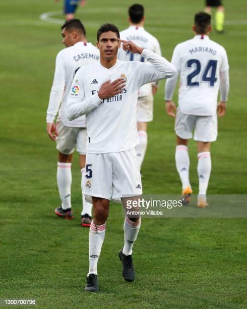 Raphaël Varane of Real Madrid during the La Liga Santander match between SD Huesca and Real Madrid at Estadio El Alcoraz on February 06, 2021 in...