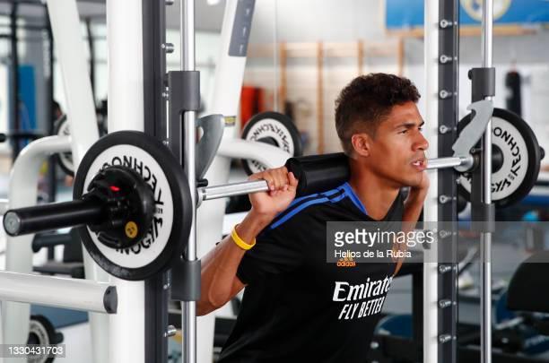 Raphaël Varane of Real Madrid is training at Valdebebas training ground on July 24, 2021 in Madrid, Spain.