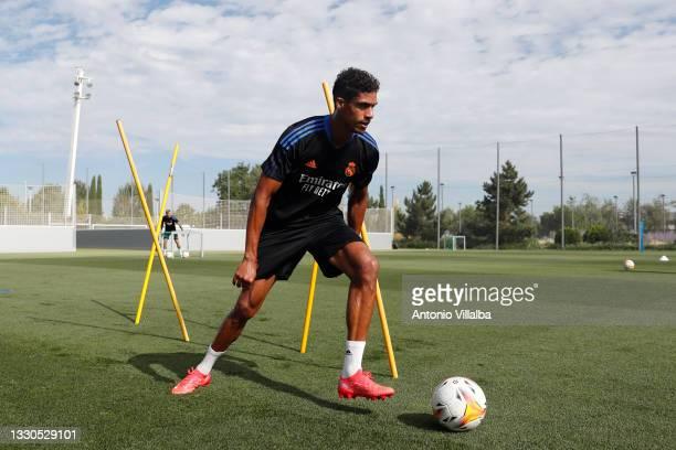 Raphaël Varane of Real Madrid is training at Valdebebas training ground on July 25, 2021 in Madrid, Spain.