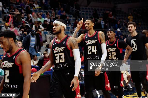 Raphiael Putney of the Erie Bayhawks celebrates after the Jayhawks defeated the Fort Wayne Mad Ants in the 2018 Eastern Conference semifinals of the...