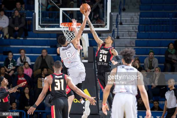 Raphiael Putney of the Erie BayHawks shoots against the Delware 87ers during an NBA GLeague game on January 20 2018 at the Bob Carpenter Center...